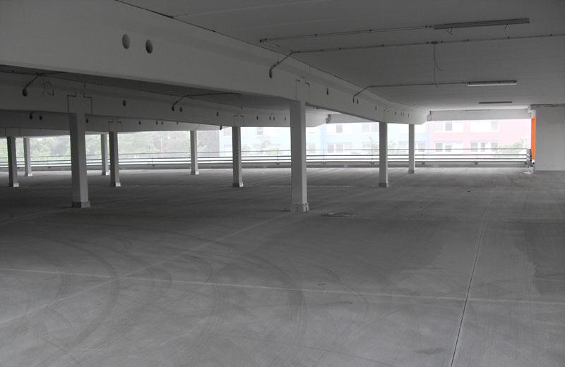Parkflächenabdichtung in einem Parkhaus Neubau in München